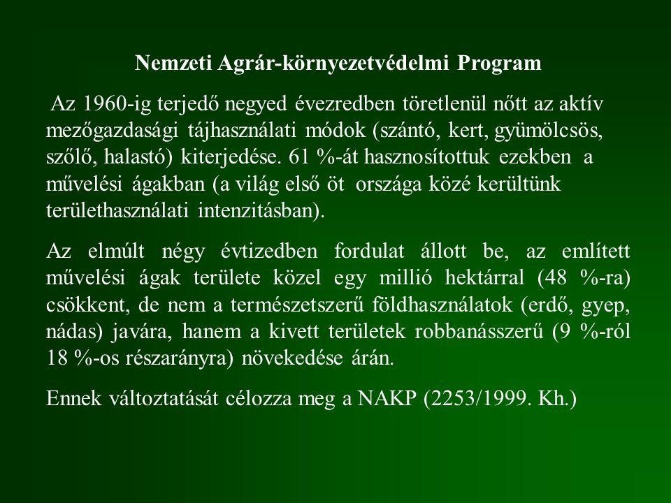 Nemzeti Agrár-környezetvédelmi Program Az 1960-ig terjedő negyed évezredben töretlenül nőtt az aktív mezőgazdasági tájhasználati módok (szántó, kert,