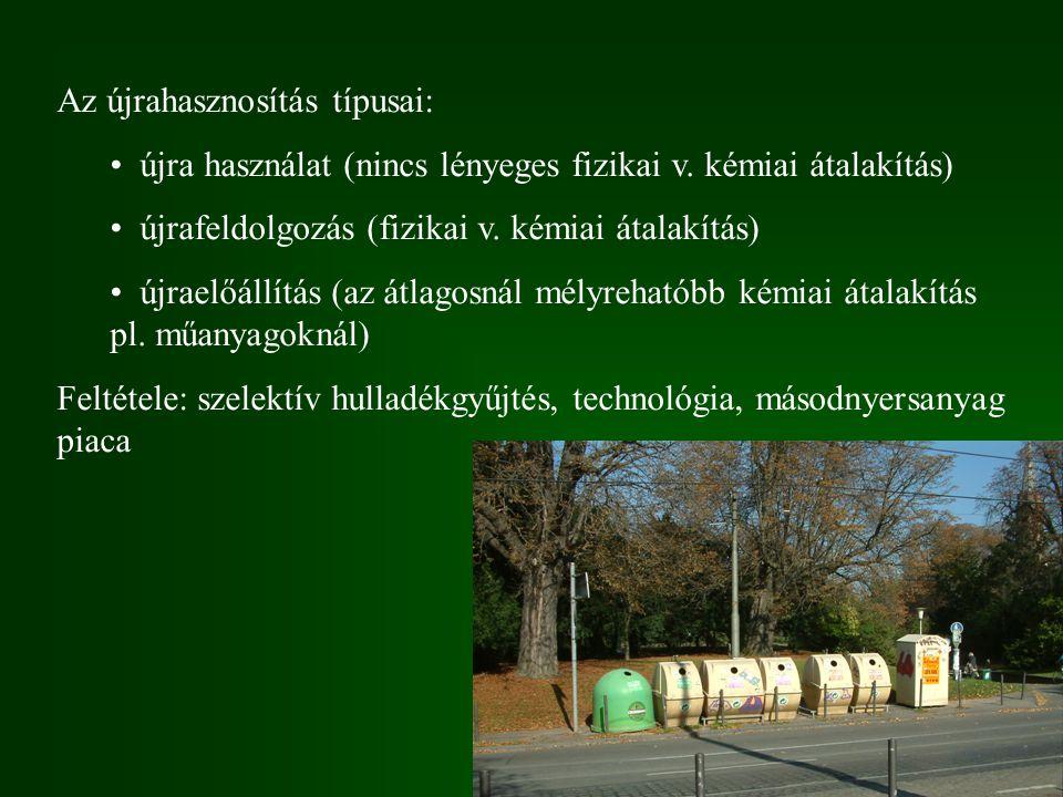 Az újrahasznosítás típusai: újra használat (nincs lényeges fizikai v. kémiai átalakítás) újrafeldolgozás (fizikai v. kémiai átalakítás) újraelőállítás