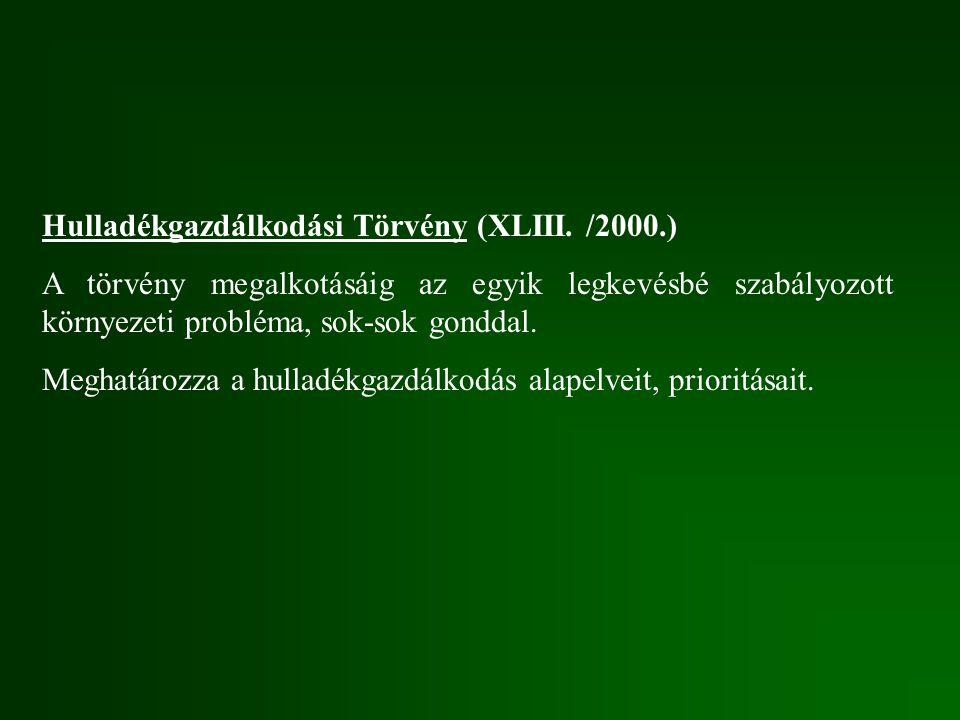 Hulladékgazdálkodási Törvény (XLIII. /2000.) A törvény megalkotásáig az egyik legkevésbé szabályozott környezeti probléma, sok-sok gonddal. Meghatároz