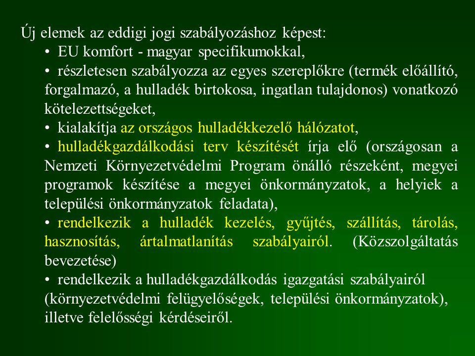 Új elemek az eddigi jogi szabályozáshoz képest: EU komfort - magyar specifikumokkal, részletesen szabályozza az egyes szereplőkre (termék előállító, f