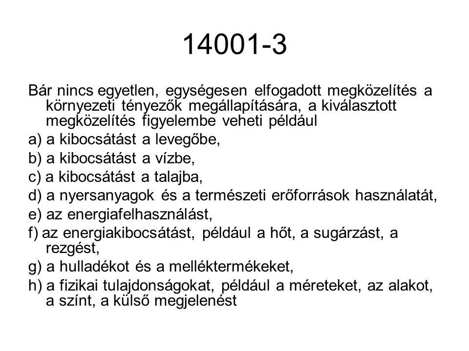 14001-3 Bár nincs egyetlen, egységesen elfogadott megközelítés a környezeti tényezők megállapítására, a kiválasztott megközelítés figyelembe veheti pé