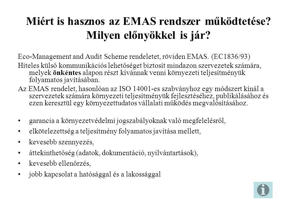 Miért is hasznos az EMAS rendszer működtetése? Milyen előnyökkel is jár? Eco-Management and Audit Scheme rendeletet, röviden EMAS. (EC1836/93) Hiteles