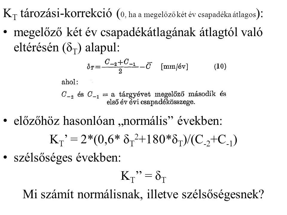 K T tározási-korrekció ( 0, ha a megelőző két év csapadéka átlagos ): megelőző két év csapadékátlagának átlagtól való eltérésén (δ T ) alapul: előzőhö
