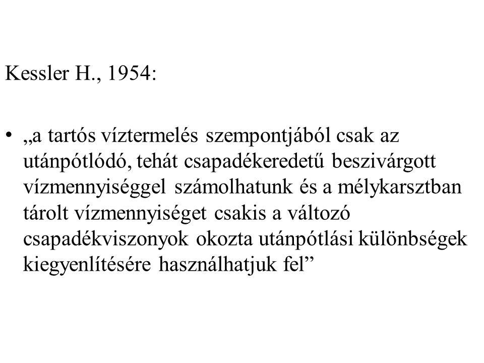"""Kessler H., 1954: """"a tartós víztermelés szempontjából csak az utánpótlódó, tehát csapadékeredetű beszivárgott vízmennyiséggel számolhatunk és a mélyka"""