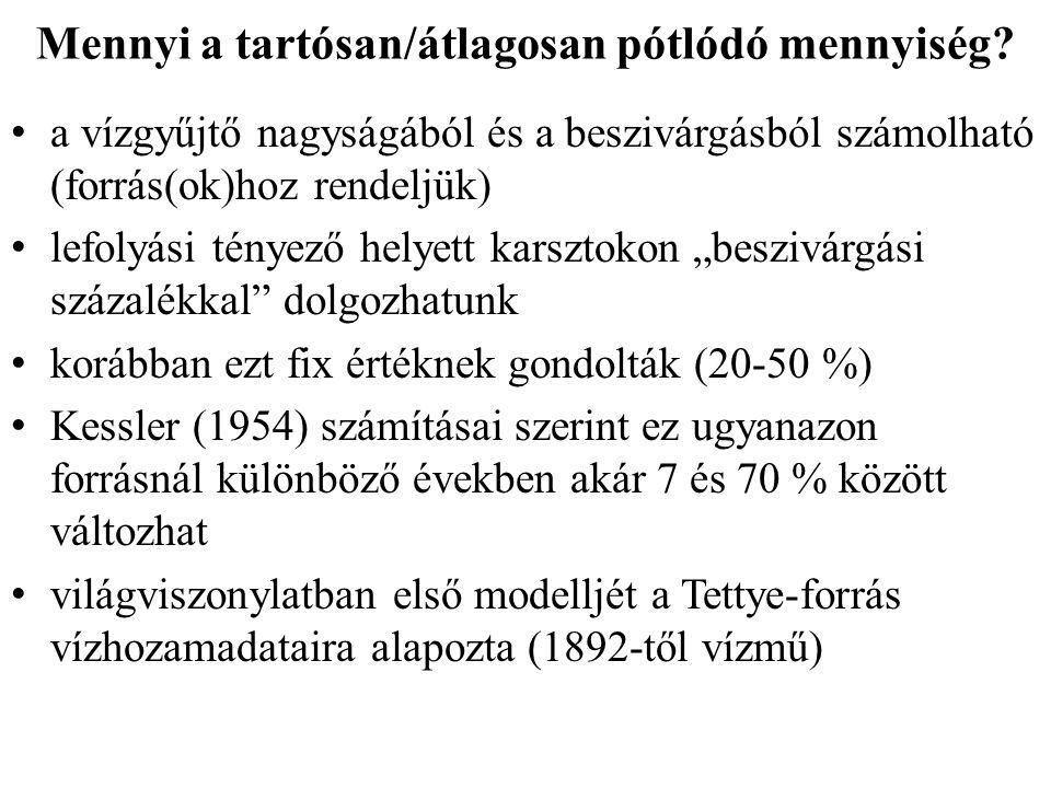 A módszer hibái ElőreMértEltérés a mért és számítottforráshozamszámított hozam Évforráshozam (m 3 ) közt, a mérthezEltérés % -ban (m 3 ) viszonyítva (m 3 ) 2004 1 932 6151 702 895+ 229 720+ 13,5% 2005 21125142057196+ 55 318+ 2,7% 200810680601051264+16796+1,6% A kapott eltérések minimálisak!!.