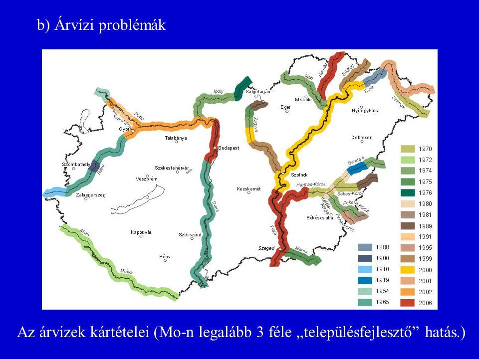 """Az árvizek kártételei (Mo-n legalább 3 féle """"településfejlesztő"""" hatás.) b) Árvízi problémák"""