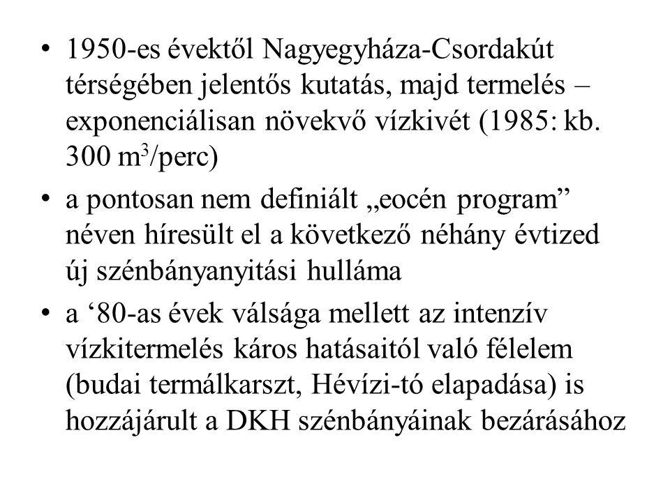 1950-es évektől Nagyegyháza-Csordakút térségében jelentős kutatás, majd termelés – exponenciálisan növekvő vízkivét (1985: kb.