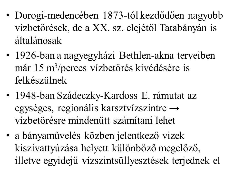 Dorogi-medencében 1873-tól kezdődően nagyobb vízbetörések, de a XX.