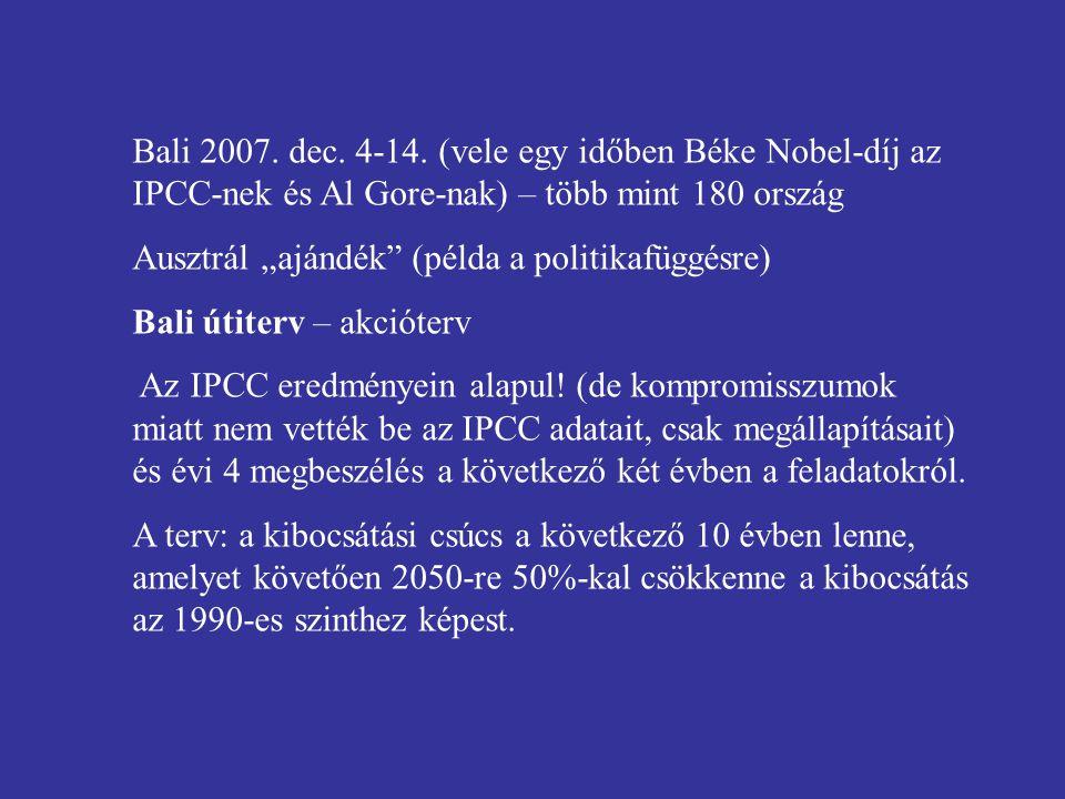 """Bali 2007. dec. 4-14. (vele egy időben Béke Nobel-díj az IPCC-nek és Al Gore-nak) – több mint 180 ország Ausztrál """"ajándék"""" (példa a politikafüggésre)"""