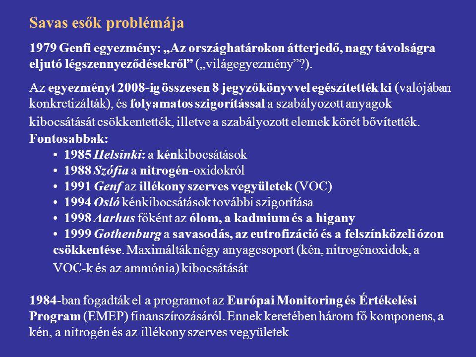 """Savas esők problémája 1979 Genfi egyezmény: """"Az országhatárokon átterjedő, nagy távolságra eljutó légszennyeződésekről"""" (""""világegyezmény""""?). Az egyezm"""