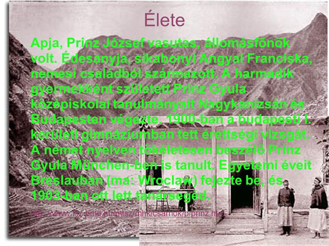 Élete ● Apja, Prinz József vasutas, állomásfőnök volt.