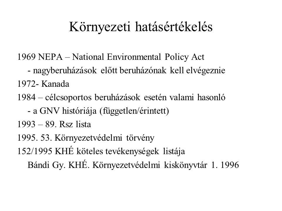 Környezeti hatásértékelés 1969 NEPA – National Environmental Policy Act - nagyberuházások előtt beruházónak kell elvégeznie 1972- Kanada 1984 – célcsoportos beruházások esetén valami hasonló - a GNV históriája (független/érintett) 1993 – 89.