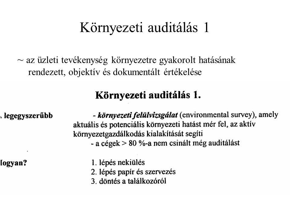 Környezeti auditálás 1 ~ az üzleti tevékenység környezetre gyakorolt hatásának rendezett, objektív és dokumentált értékelése