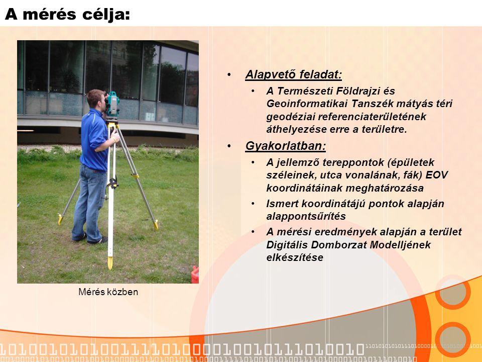 A mérés célja: Alapvető feladat: A Természeti Földrajzi és Geoinformatikai Tanszék mátyás téri geodéziai referenciaterületének áthelyezése erre a területre.