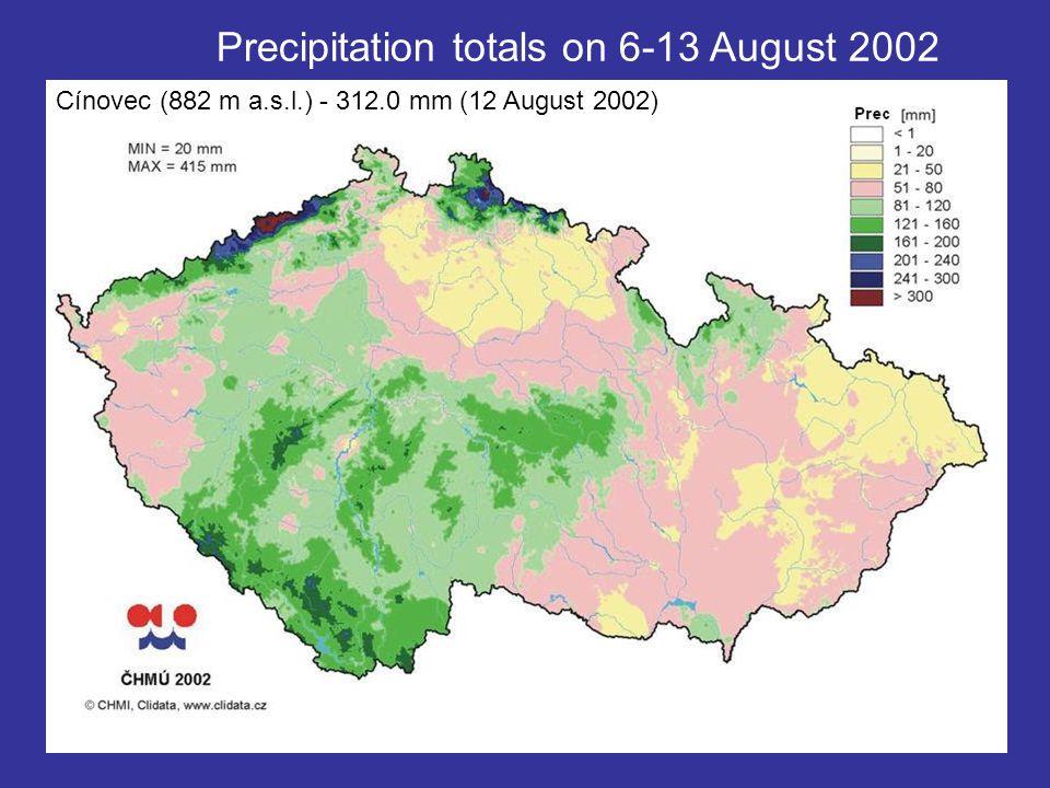 Precipitation totals on 6-13 August 2002 Cínovec (882 m a.s.l.) - 312.0 mm (12 August 2002)