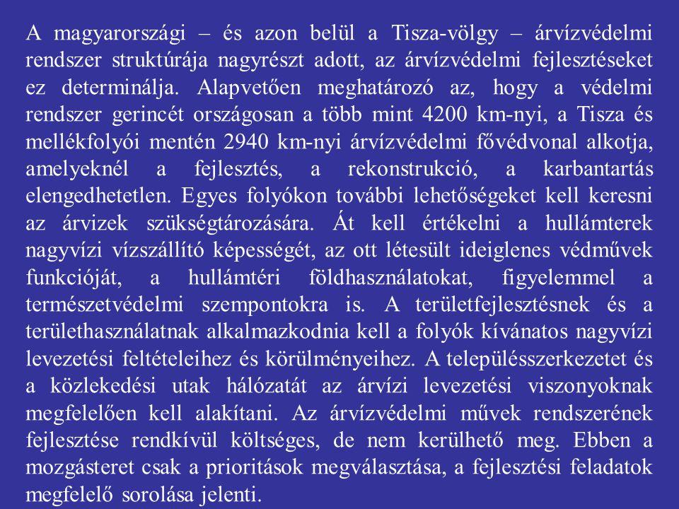 A magyarországi – és azon belül a Tisza-völgy – árvízvédelmi rendszer struktúrája nagyrészt adott, az árvízvédelmi fejlesztéseket ez determinálja. Ala