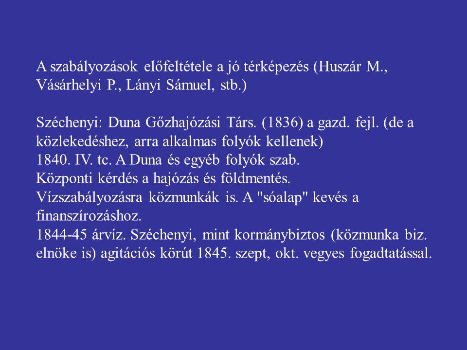 A szabályozások előfeltétele a jó térképezés (Huszár M., Vásárhelyi P., Lányi Sámuel, stb.) Széchenyi: Duna Gőzhajózási Társ. (1836) a gazd. fejl. (de