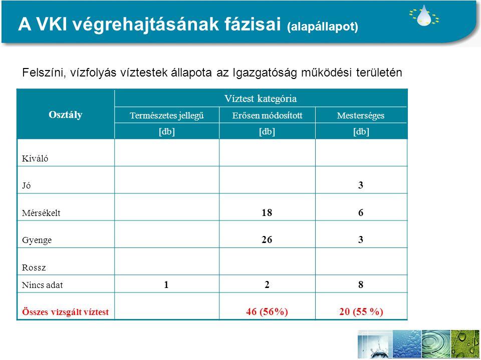 A VKI végrehajtásának fázisai (alapállapot) Osztály Víztest kategória Természetes jellegű Erősen módos í tott Mesterséges [db] Kiváló Jó 3 Mérsékelt 186 Gyenge 263 Rossz Nincs adat 128 Összes vizsgált víztest 46 (56%)20 (55 %) Felszíni, vízfolyás víztestek állapota az Igazgatóság működési területén