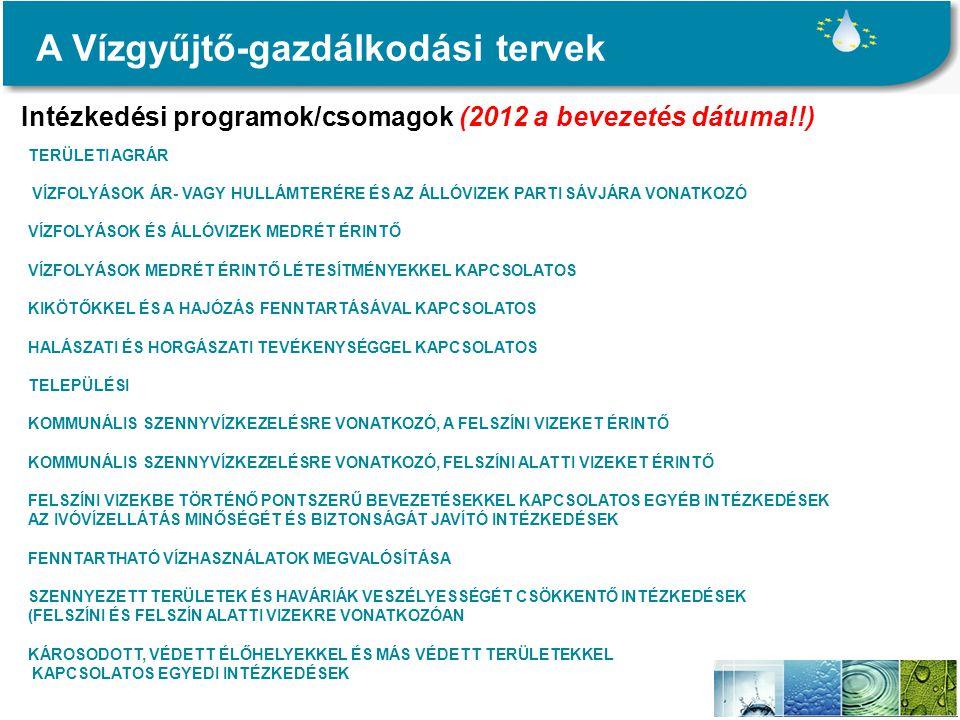 A Vízgyűjtő-gazdálkodási tervek Intézkedési programok/csomagok (2012 a bevezetés dátuma!!) TERÜLETI AGRÁR VÍZFOLYÁSOK ÁR- VAGY HULLÁMTERÉRE ÉS AZ ÁLLÓVIZEK PARTI SÁVJÁRA VONATKOZÓ VÍZFOLYÁSOK ÉS ÁLLÓVIZEK MEDRÉT ÉRINTŐ VÍZFOLYÁSOK MEDRÉT ÉRINTŐ LÉTESÍTMÉNYEKKEL KAPCSOLATOS KIKÖTŐKKEL ÉS A HAJÓZÁS FENNTARTÁSÁVAL KAPCSOLATOS HALÁSZATI ÉS HORGÁSZATI TEVÉKENYSÉGGEL KAPCSOLATOS TELEPÜLÉSI KOMMUNÁLIS SZENNYVÍZKEZELÉSRE VONATKOZÓ, A FELSZÍNI VIZEKET ÉRINTŐ KOMMUNÁLIS SZENNYVÍZKEZELÉSRE VONATKOZÓ, FELSZÍNI ALATTI VIZEKET ÉRINTŐ FELSZÍNI VIZEKBE TÖRTÉNŐ PONTSZERŰ BEVEZETÉSEKKEL KAPCSOLATOS EGYÉB INTÉZKEDÉSEK AZ IVÓVÍZELLÁTÁS MINŐSÉGÉT ÉS BIZTONSÁGÁT JAVÍTÓ INTÉZKEDÉSEK FENNTARTHATÓ VÍZHASZNÁLATOK MEGVALÓSÍTÁSA SZENNYEZETT TERÜLETEK ÉS HAVÁRIÁK VESZÉLYESSÉGÉT CSÖKKENTŐ INTÉZKEDÉSEK (FELSZÍNI ÉS FELSZÍN ALATTI VIZEKRE VONATKOZÓAN KÁROSODOTT, VÉDETT ÉLŐHELYEKKEL ÉS MÁS VÉDETT TERÜLETEKKEL KAPCSOLATOS EGYEDI INTÉZKEDÉSEK