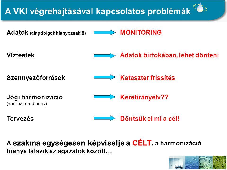 A VKI végrehajtásával kapcsolatos problémák Adatok (alapdolgok hiányoznak!!!) MONITORING VíztestekAdatok birtokában, lehet dönteni SzennyezőforrásokKataszter frissítés Jogi harmonizációKeretirányelv?.