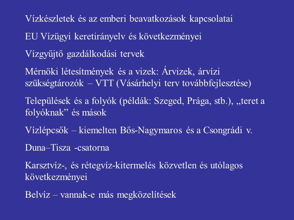 """Vízkészletek és az emberi beavatkozások kapcsolatai EU Vízügyi keretirányelv és következményei Vízgyűjtő gazdálkodási tervek Mérnöki létesítmények és a vizek: Árvizek, árvízi szükségtározók – VTT (Vásárhelyi terv továbbfejlesztése) Települések és a folyók (példák: Szeged, Prága, stb.), """"teret a folyóknak és mások Vízlépcsők – kiemelten Bős-Nagymaros és a Csongrádi v."""