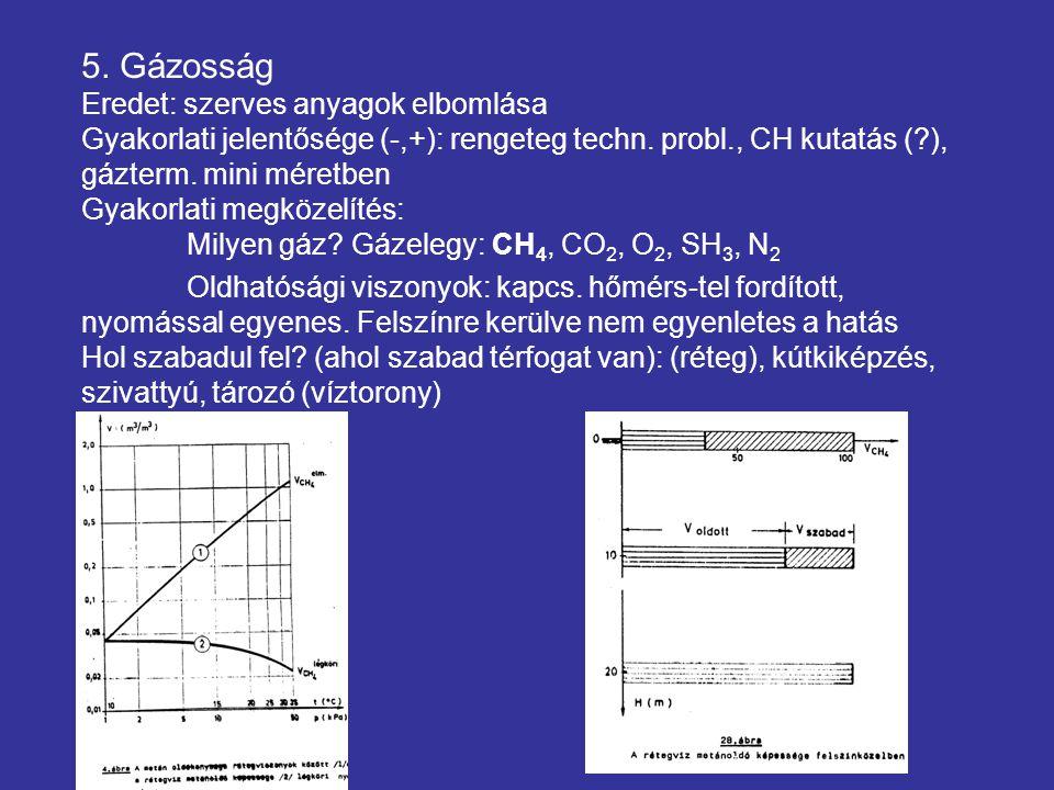 5. Gázosság Eredet: szerves anyagok elbomlása Gyakorlati jelentősége (-,+): rengeteg techn.