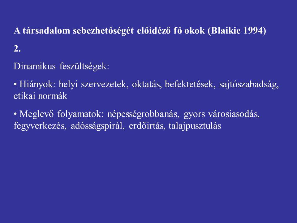 A társadalom sebezhetőségét előidéző fő okok (Blaikie 1994) 2.