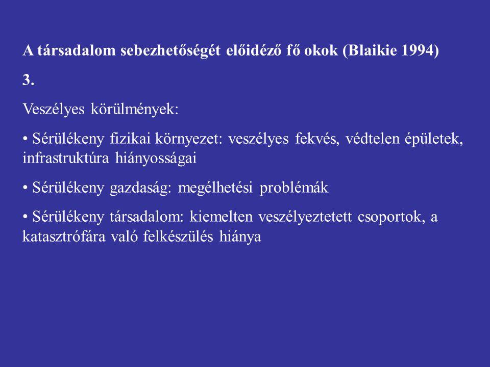 A társadalom sebezhetőségét előidéző fő okok (Blaikie 1994) 3.