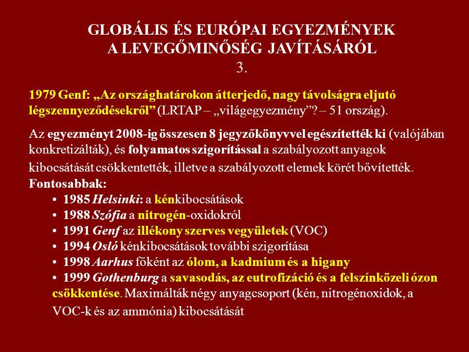 GLOBÁLIS ÉS EURÓPAI EGYEZMÉNYEK A LEVEGŐMINŐSÉG JAVÍTÁSÁRÓL 3.