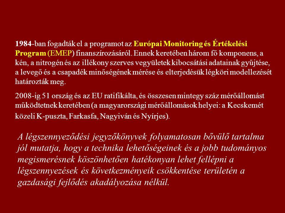 1984-ban fogadták el a programot az Európai Monitoring és Értékelési Program (EMEP) finanszírozásáról.
