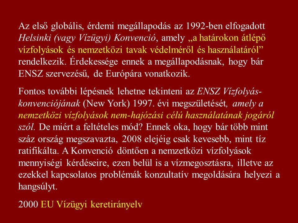 """Az első globális, érdemi megállapodás az 1992-ben elfogadott Helsinki (vagy Vízügyi) Konvenció, amely """"a határokon átlépő vízfolyások és nemzetközi tavak védelméről és használatáról rendelkezik."""