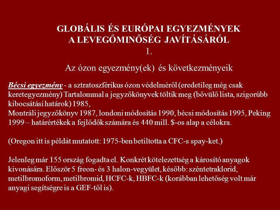 GLOBÁLIS ÉS EURÓPAI EGYEZMÉNYEK A LEVEGŐMINŐSÉG JAVÍTÁSÁRÓL 1.