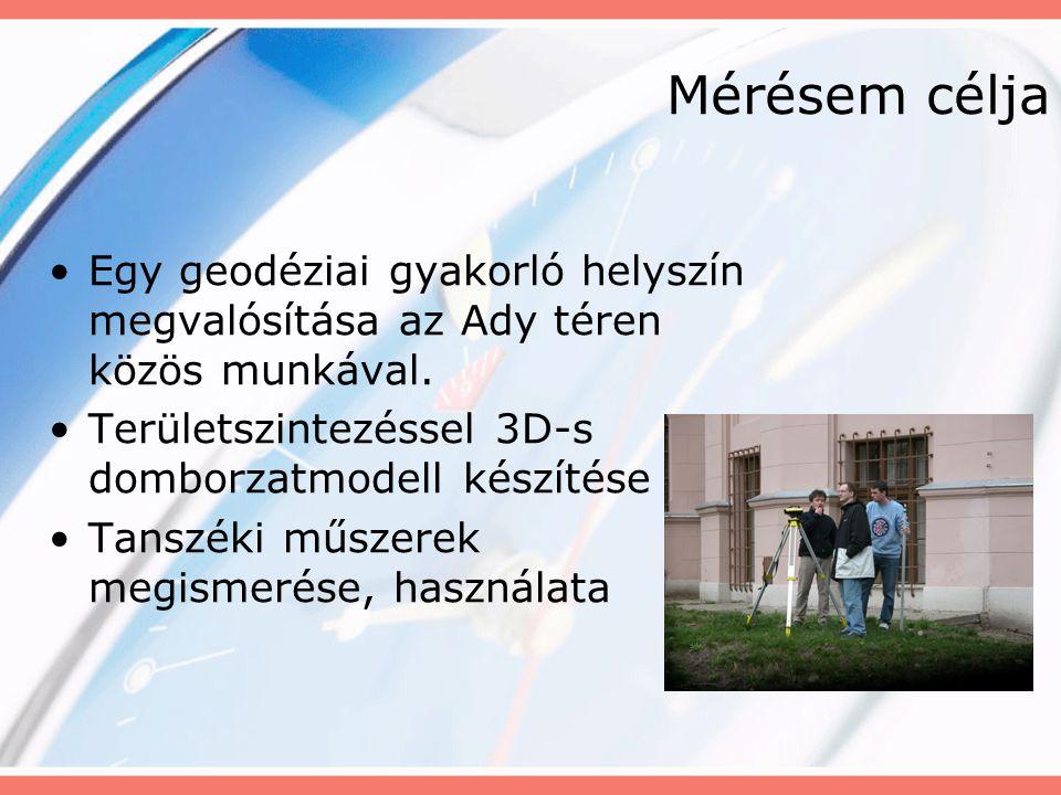 Mérésem célja Egy geodéziai gyakorló helyszín megvalósítása az Ady téren közös munkával. Területszintezéssel 3D-s domborzatmodell készítése Tanszéki m