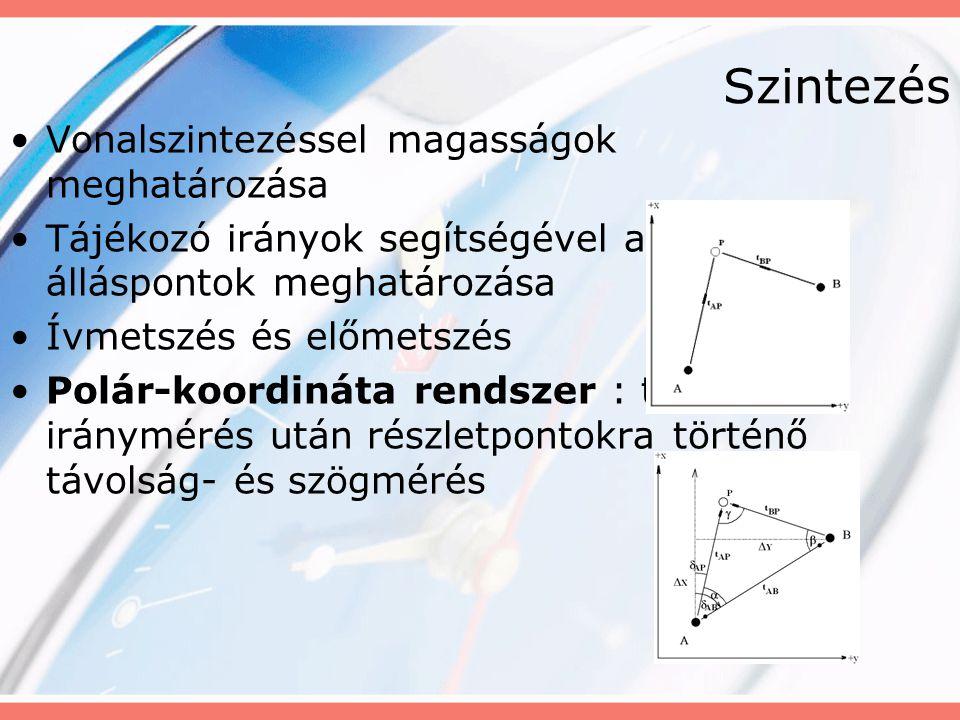 Szintezés Vonalszintezéssel magasságok meghatározása Tájékozó irányok segítségével az álláspontok meghatározása Ívmetszés és előmetszés Polár-koordiná