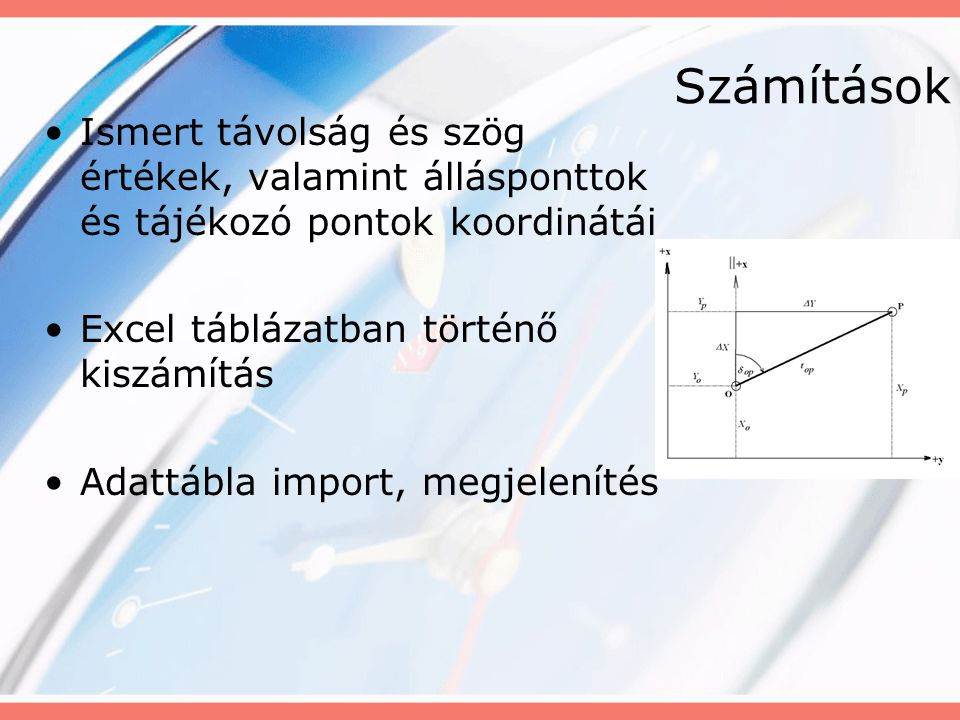 Számítások Ismert távolság és szög értékek, valamint állásponttok és tájékozó pontok koordinátái Excel táblázatban történő kiszámítás Adattábla import