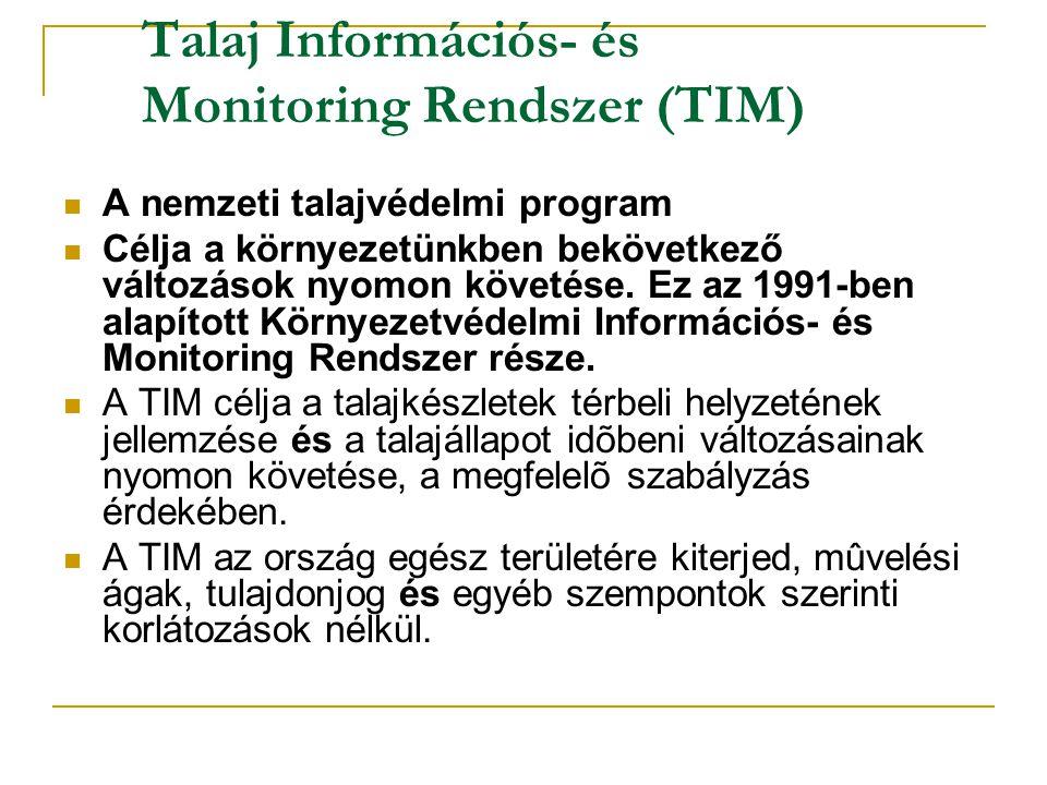 TIM A Talajvédelmi Információs és Monitoring Rendszer alapállapot felvételezésére1992-ben került sor.