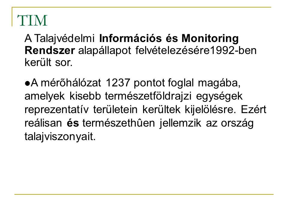 """TIM Az 1236 pontból 865 található mezõgazdasági területen(~70%), 182 erdõvel borított területen (~15%), 189 pedig speciális, problematikus területen (""""S pontok) (~15%)."""