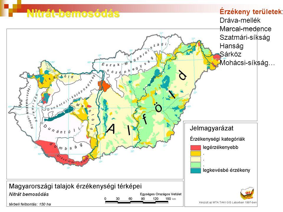 Nitrát-bemosódás Érzékeny területek: Dráva-mellék Marcal-medence Szatmári-síkság Hanság Sárköz Mohácsi-síkság…