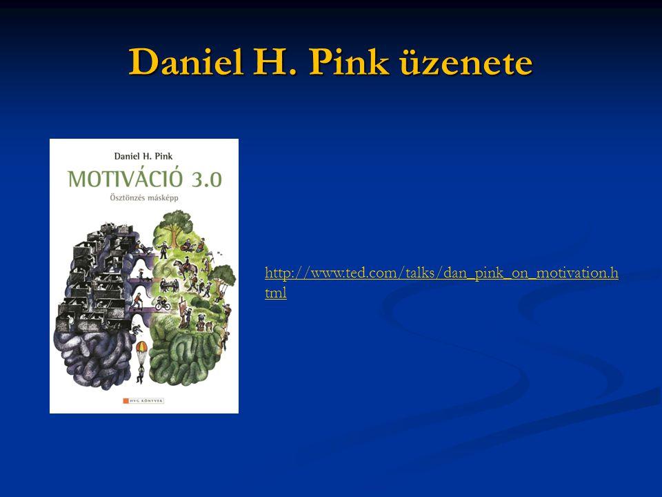 Daniel H. Pink üzenete http://www.ted.com/talks/dan_pink_on_motivation.h tml