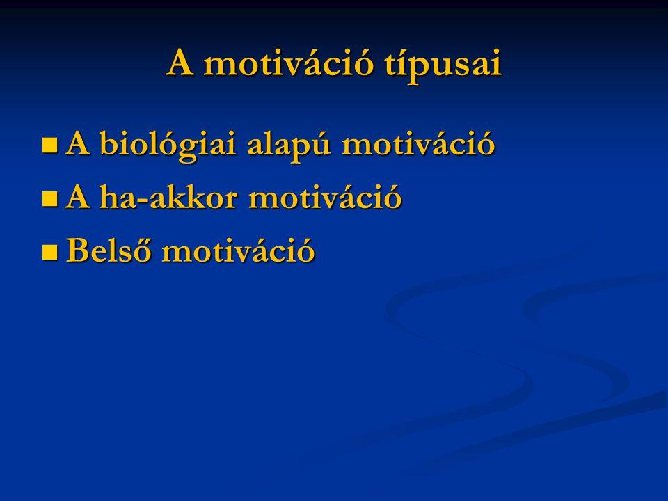 A motiváció típusai A biológiai alapú motiváció A biológiai alapú motiváció A ha-akkor motiváció A ha-akkor motiváció Belső motiváció Belső motiváció