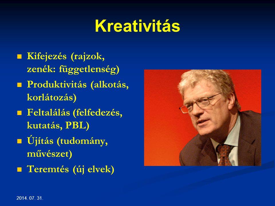 Kreativitás Kifejezés (rajzok, zenék: függetlenség) Produktivitás (alkotás, korlátozás) Feltalálás (felfedezés, kutatás, PBL) Újítás (tudomány, művészet) Teremtés (új elvek)