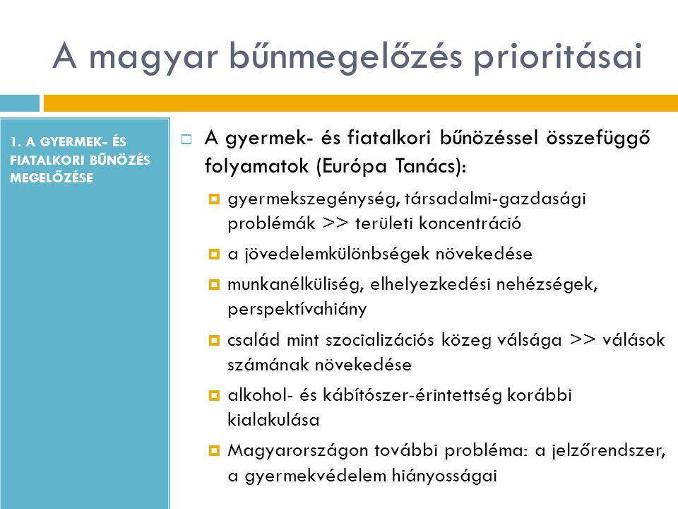 A magyar bűnmegelőzés prioritásai 1. A GYERMEK- ÉS FIATALKORI BŰNÖZÉS MEGELŐZÉSE  A gyermek- és fiatalkori bűnözéssel összefüggő folyamatok (Európa T
