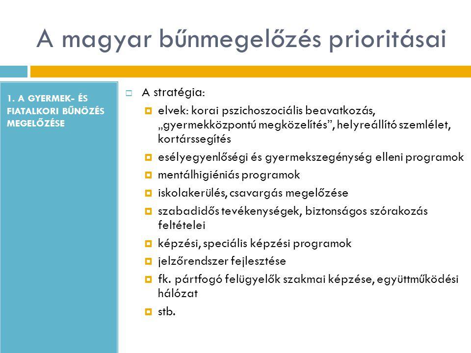 """A magyar bűnmegelőzés prioritásai 1. A GYERMEK- ÉS FIATALKORI BŰNÖZÉS MEGELŐZÉSE  A stratégia:  elvek: korai pszichoszociális beavatkozás, """"gyermekk"""
