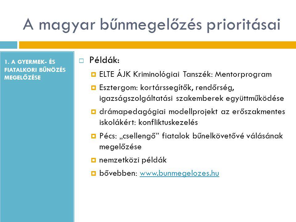 A magyar bűnmegelőzés prioritásai 1. A GYERMEK- ÉS FIATALKORI BŰNÖZÉS MEGELŐZÉSE  Példák:  ELTE ÁJK Kriminológiai Tanszék: Mentorprogram  Esztergom