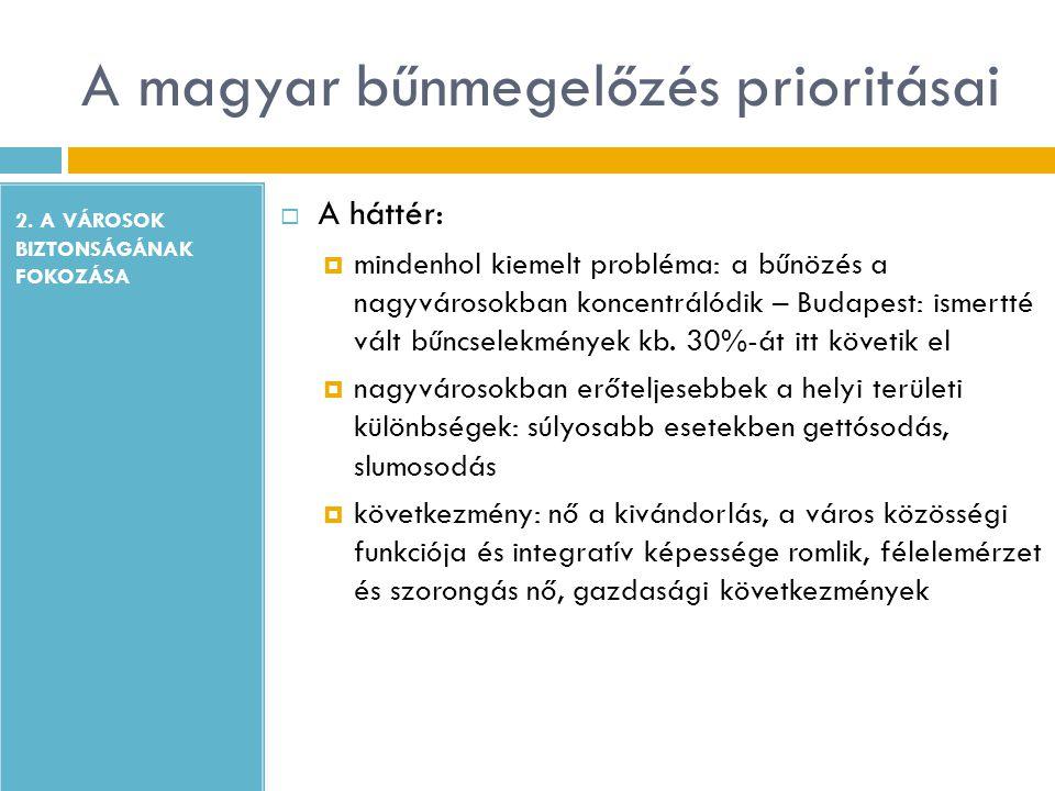 A magyar bűnmegelőzés prioritásai 2. A VÁROSOK BIZTONSÁGÁNAK FOKOZÁSA  A háttér:  mindenhol kiemelt probléma: a bűnözés a nagyvárosokban koncentráló