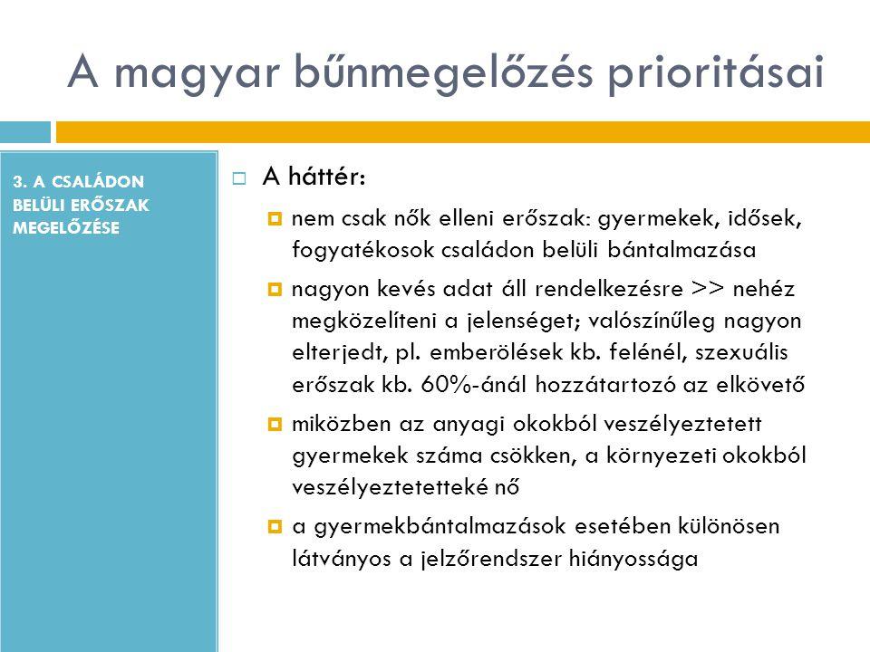 A magyar bűnmegelőzés prioritásai 3. A CSALÁDON BELÜLI ERŐSZAK MEGELŐZÉSE  A háttér:  nem csak nők elleni erőszak: gyermekek, idősek, fogyatékosok c