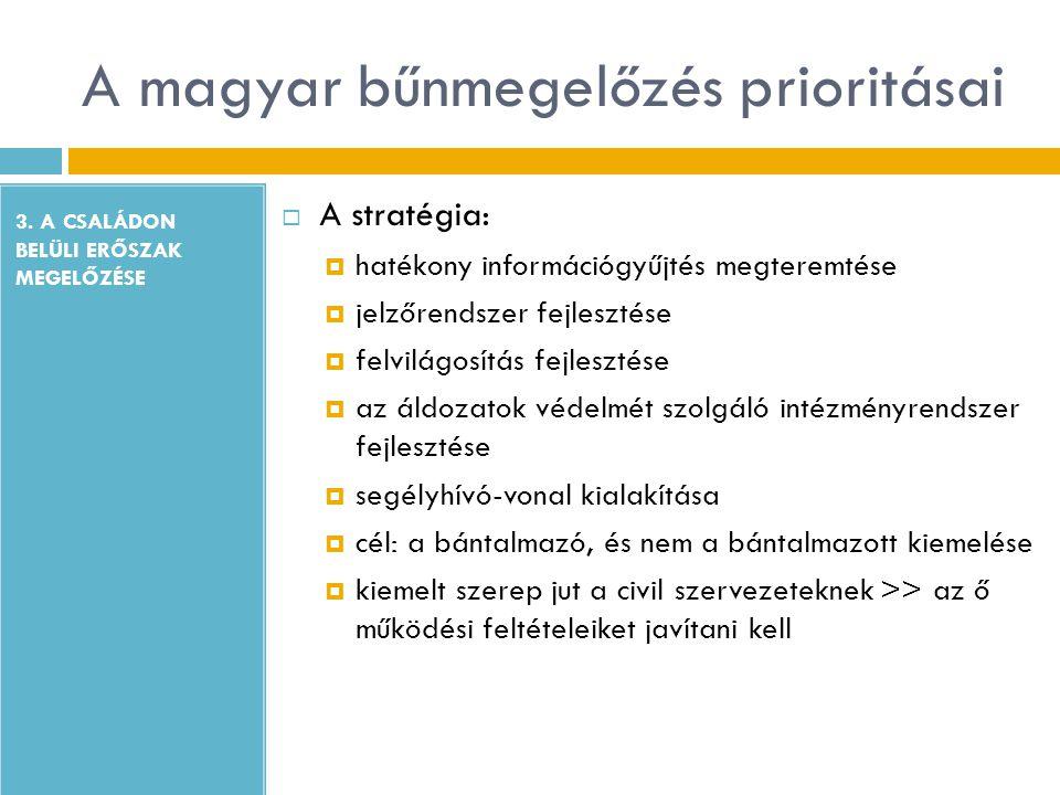 A magyar bűnmegelőzés prioritásai 3. A CSALÁDON BELÜLI ERŐSZAK MEGELŐZÉSE  A stratégia:  hatékony információgyűjtés megteremtése  jelzőrendszer fej