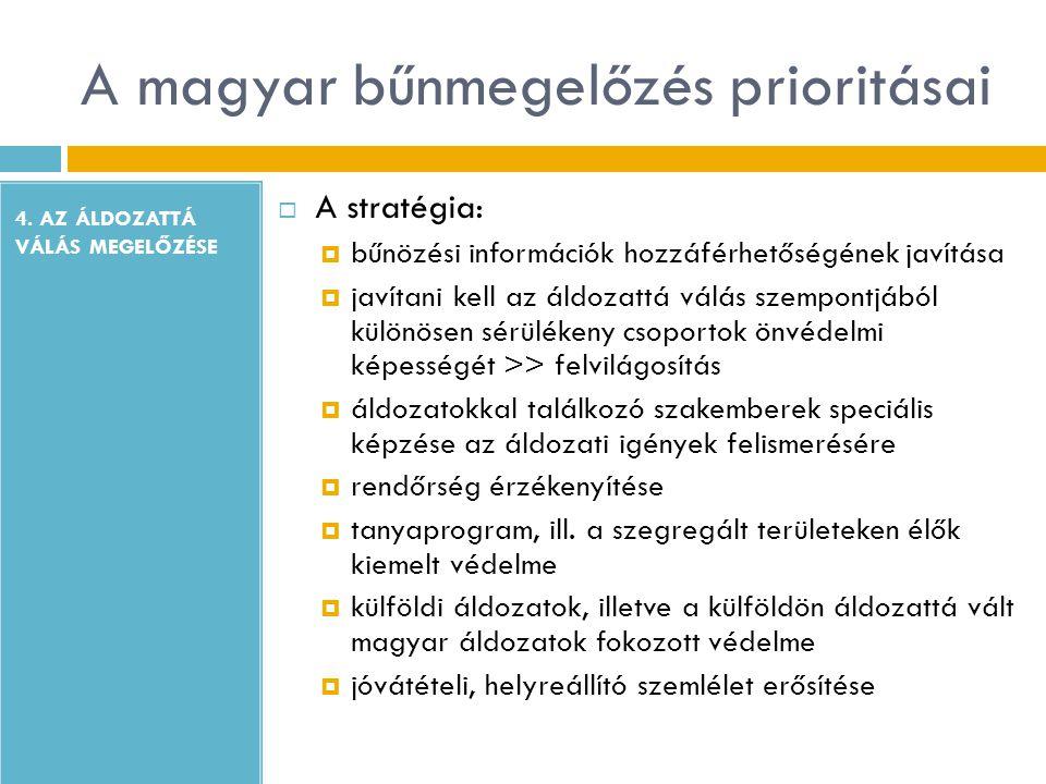 A magyar bűnmegelőzés prioritásai 4. AZ ÁLDOZATTÁ VÁLÁS MEGELŐZÉSE  A stratégia:  bűnözési információk hozzáférhetőségének javítása  javítani kell