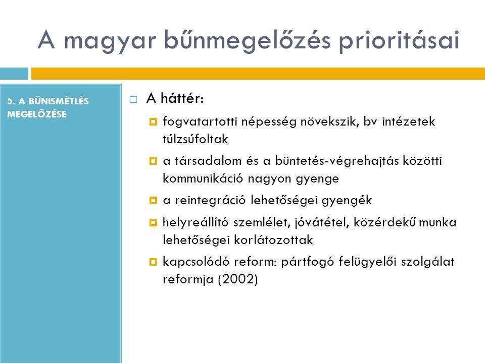 A magyar bűnmegelőzés prioritásai 5. A BŰNISMÉTLÉS MEGELŐZÉSE  A háttér:  fogvatartotti népesség növekszik, bv intézetek túlzsúfoltak  a társadalom