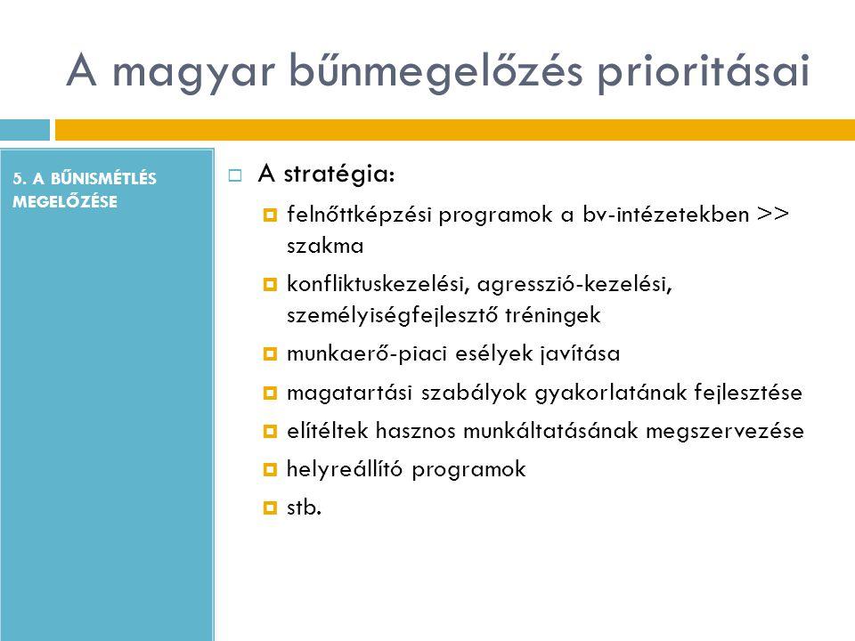 A magyar bűnmegelőzés prioritásai 5. A BŰNISMÉTLÉS MEGELŐZÉSE  A stratégia:  felnőttképzési programok a bv-intézetekben >> szakma  konfliktuskezelé